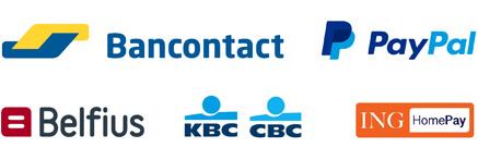 Betaalmogelijkheden: Bancontact - Paypal - Belfius betaalknop - KBC-CBC betaalknop - ING HomePay