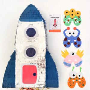 kinderfeestje-thema-ruimte-luxepakket-piñata-ruimte-raket-ruimte-alien-maskers-folieballon-raket