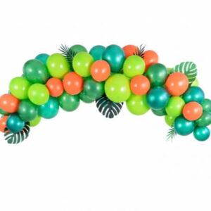 ballonnenboog-met-verschillende-groene-ballonnen-met-ballonlint